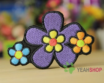 Iron on Fabric Patch - Big Flower and Small Flowers - FP86