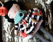 "Custom Order 17"" Stella Doll, SpunCandy, Handmade Doll, Heirloom Quality Dolls, Bespoken Dolls, Aqua Scarf, Doll With Black Hair, Rag Doll"