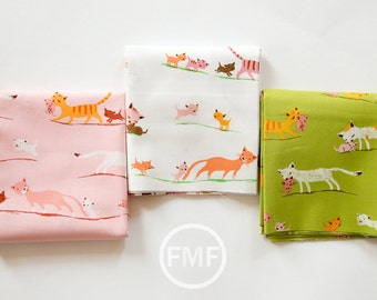 Tiger Lily Marching Cats Fat Quarter Bundle, 3 Pieces, Heather Ross, Windham Fabrics, 100% Cotton Fabric, 40931