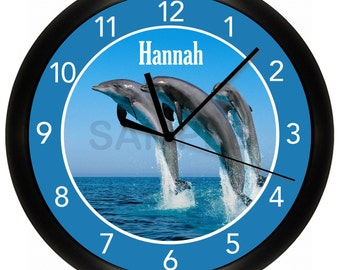 Personalized Blue Dolphins Wall Clock