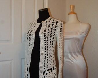 "Crochet Cardigan size Small bust 33-35"" Motif Hem Single Button Closure"