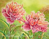 Peonies Flowers Watercolor Painting Print, Red-Violet, Orange,Green, Yellow, Floral, Garden