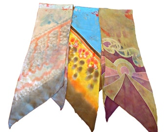 3 Vintage Scarf Art Scarf  Scarf Long Ladies Scarves Abstract   D28