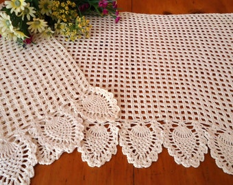 2 Crocheted Doily Runner Crocheted Doily Ecru Vintage Doilys Doilies  Lot  B261