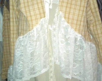 Stagecoach Ridding ruffled jacket in homespun with s lace ruffle
