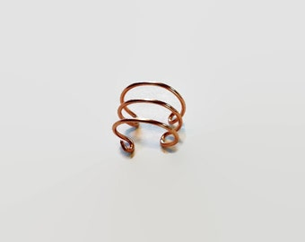 14K Gold Ear Cuff - Gold Ear Cuff - Triple Ear Cuff - Triple Ear Cuff - 3 ring ear cuff - helix ear cuff - triple earcuff