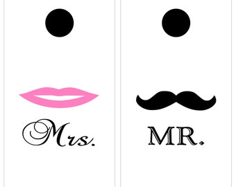 Wedding Decal / Bean Bag Game / Corn Hole / Lawn game / decal / sticker / vinyl / bean bag toss / mustache / Mr Mrs / matrimony / ceremony