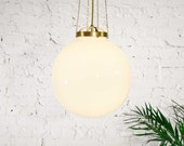 Full Moon - Mid century modern pendant lamp / Unfinished solid brass, Glass ball