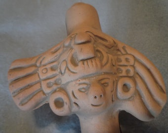 Neat,  Hand Made, Vintage Mexican,  Clay Flute with Two FACES, Very Good Condition