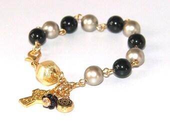 Catholic Rosary Bracelet, Swarovski® Pearls, Celtic Cross