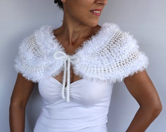 Bridal Shrug, Bridal Shawl, Knit Cape Bolero Winter Wedding Dress Cover-up Evening Cape White Cream Formal Capelet Faux Fur Wrap Stole