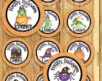 Halloween stickers Frog Thank you tags Birthday stickers Party favor tags Custom Gift tags Cupcake toppers Birthday Party tags label PRECUT