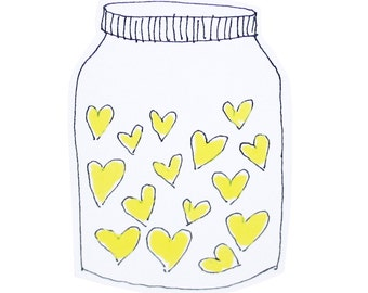 Yellow Valentine Card, I Love You Card, Jar of Yellow Hearts Blank Card, For Mom, For Girlfriend, For Friend, Poosac