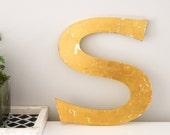 Vintage Shop letter S, Gold Leaf College