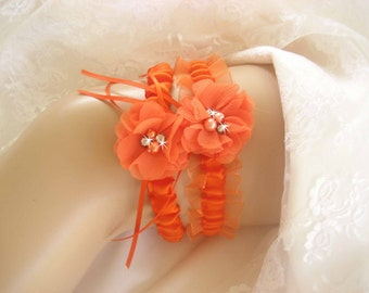 SALE Sale Halloween Wedding Garter , Orange Wedding Garter Set, with Toss Garter, Halloween Bridal Garter