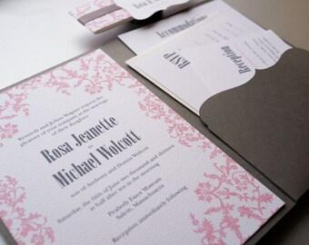 Pink Wedding Invitation. Pink Garden Wedding, Garden Vintage Invitation. Pink and Grey Wedding Invitation - Sample