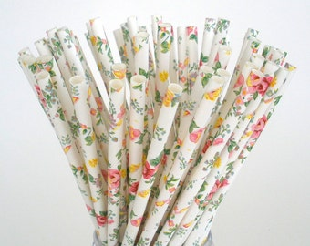"Paper Straws"" Vintage Floral"" Paper Drinking Straws Stripes Chevon Dots /  Light Pink True Navy / Choose 25, 50, 75 or 100 Straws"