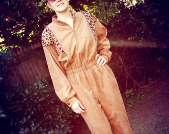 1980s Vintage Jumpsuit Animal Print Leopard Zipper Front Jo Hardin Womens Vintage Medium