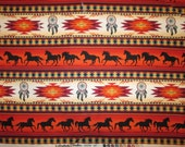Navajo Totem Horse Border Terracota Gold Native American Cotton Fabric Fat Quarter or Custom Listing