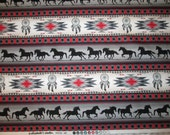 Navajo Totem Horse Border Grey Red Native American Cotton Fabric Fat Quarter or Custom Listing