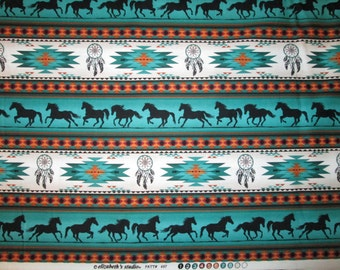 Tradional Navajo Horse Totem Border Teal Gold Cotton Fabric Fat Quarter Or Custom Listing
