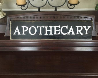 APOTHECARY Sign Plaque Medicine and Drug Pharmacy Wooden Hand Painted You Pick Color
