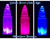"Selenite Crystal Tower 6""Fat Chakra Light Therapy 5 Color Base Reiki Metaphysical Zen Meditation Yoga Cottage Chic Feng Shui Night Light"