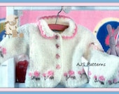 PDF Knitting Pattern for a Baby or Little Girls Cardigan & Hat Set To Fit 1 to 18 Months