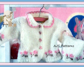 PDF Knitting Pattern for a Baby or Little Girls Cardigan & Hat Set To Fit 1 to 18 Months - Instant Download