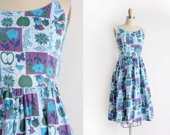 vintage 1950s sun dress // 50s cotton novelty day dress