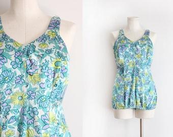 vintage 1950s swimsuit // 50s floral bathingsuit in larger size