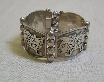 Sterling Mayan Design Big Bracelet, Vintage, Big and Bold