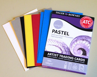 ATC / ACEO Blanks, Artist Trading Card Blanks, Paper for Pastel or Pencil, 98lb Acid Free 2.5 x 3.5 inches, 12 sheets 6 colors