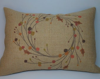 Autumn Wreath Burlap Pillow,  French Farmhouse, Shabby Chic, Thanksgiving, INSERT INCLUDED