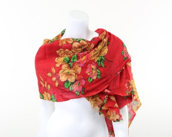 Yellow roses on red wool Scarf or Shawl
