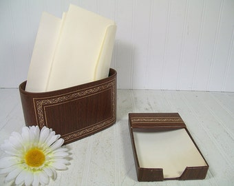Retro Brown Leather Look with Gold Tooling Desk Set of 2 Pieces - Vintage Library Office Accessories - Letter Bin and Memo Paper Holder Set