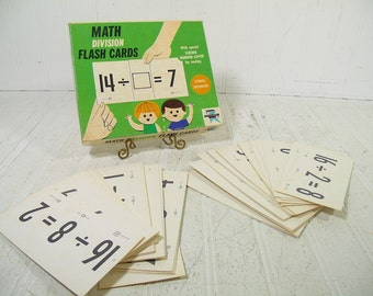 Binney & Smith New Math Division Flash Cards Collection - Vintage EdUCards - Mid Century Complete Set of 50 Basic Math Cards in Original Box