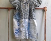 blue peasant farmer prairie vintage linens cottage chic country boho gypsy shabby prairie fashion tunic shirt
