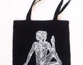 TOTE BAG, Cotton bag, Shopping bag, Grocery bag, Canvas tote bag, Yogi, Yoga accessories, Silk-screen printing, handmade, Serigraph