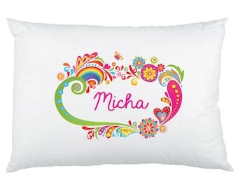 Hippie Sixties Rainbow Personalized Pillowcase - Custom Printed Children's Pillow Cases - Birthday Gift