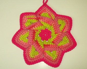 Star Flower Potholder - Fuchsia, Pink, and Lime Stripes - 100% Cotton, Eco-friendly, Re-usable, Reversible