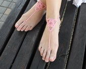 Peach Flower Barefoot Sandals Yoga Cotton Nude Shoes Wedding Shoes Bridal Feet Jewelry Beach Sandals Bridal Toe Shoes Beads - SC0012D