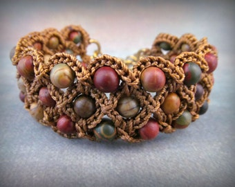 Bohemian Beaded Crochet Cuff Bracelet - Earthy, Rustic Colors, Boho Thick Cuff, adjustable
