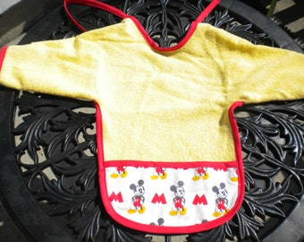 Mickey Mouse Terrycloth Baby Bib with Sleeves and Crumbcatcher Pocket