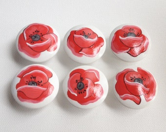 Poppy Flower Drawer Pulls / Dresser Knobs / Closet Handles Hand Painted for Girls Rooms, Nursery Rooms and Play Rooms