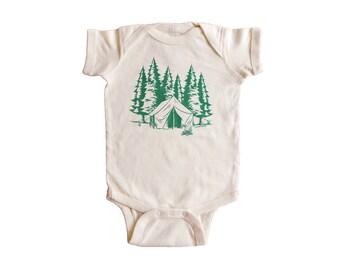 CAMPING Baby Bodysuit - Screen Printed Baby Onesie