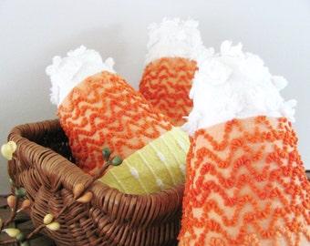 CANDY CORN set of 3 accent basket pillows, fall cushions, orange pillows, Halloween basket filler cushions, candy cushions, orange pillows