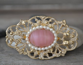 1950's Gold Plated Pink Opalescent Brooch
