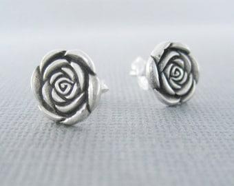 Flat Rose Earrings, Sterling Silver Rose Earrings, Rose Studs, Silver Rose Studs