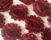 "Burgundy Wine Red Shabby Rose Trim 2.5"" Shabby Flowers Shabby Chiffon Flowers - Solid Shabby Chic Trim Wholesale Rosette trim 6cm yard  #305"